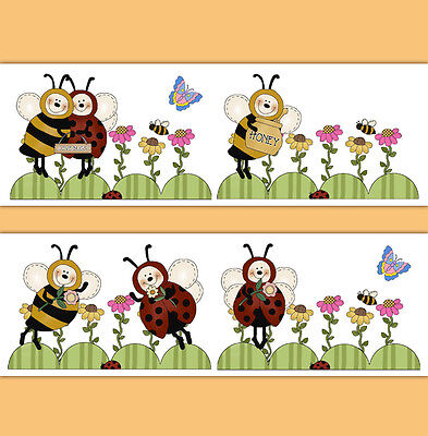 Bumble Honey Bee Ladybug Wallpaper Border Wall Art Decals Girl Nursery Stickers