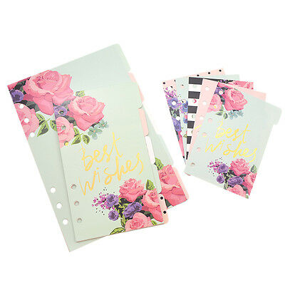 A5 A6 A7 Loose-leaf Paper For 6 Rings Binder Notebook 5 Sheets Flower Print