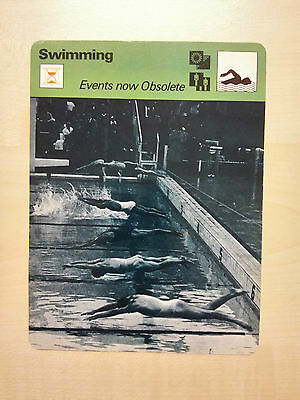 SWIMMING OBSOLETE EVENTS FROM 1969 Sportscaster Rencontre Fact Card -  Rare