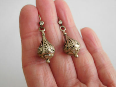 Victorian bomb drop embossed pendant earrings