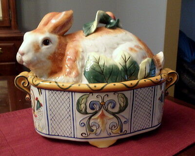 "Fitz Floyd Ricamo Rabbit Bunny 13"" Covered Tureen Covered Vegetable Dish"