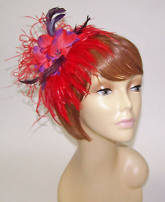 Red Feather & Flower Hair Clip Fascinator For The Red Hat Lady Of The Society
