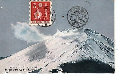 Great Mt Fuji from Yamanaka, Japan Postcard. Used 1934 to Czechoslavakia.