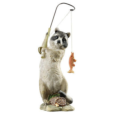 Gone Fishing! Furry Fisherman Woodland Raccoon Garden Outdoor Statue