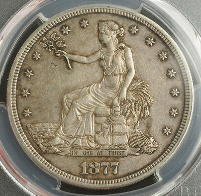 1877-S, USA. Certified Silver Trade Dollar Coin. Problem-Free! PCGS AU-50!
