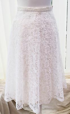 Vintage Lace Summer Skirt 8-10 White Ivory Full Lacy 50s 80s