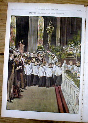 1899 newspaper color magazine w 3 Larg poster-like engravings  EASTER in NY CITY