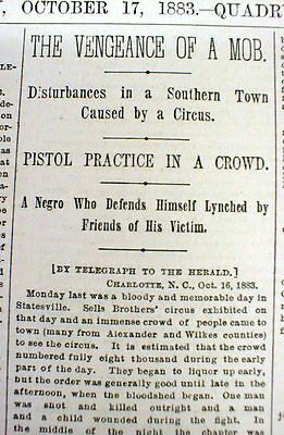 1883 newspaper NEGRO MAN is LYNCHED at STATESVILLE North Carolina by White mob