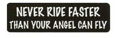 Never Ride Faster Than Your Angel Motorcycle Helmet Sticker Biker Helmet Decal
