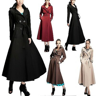 Trench Coat Long Belted Winter Vintage Career Ladies Womens Jacket Size 0-12 CCC