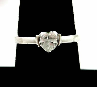 HEART Shaped Cut Clear RHINESTONE RING Vintage Silvertone Solitaire Size 8