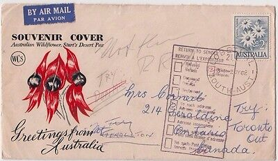 Stamp 1962 Australia 2/- flower on WCS cachet FDC to Canada return to sender