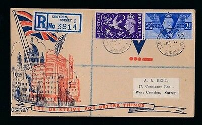 VICTORY - CROYDON...1946 FDC First Day Cover...Fast Post