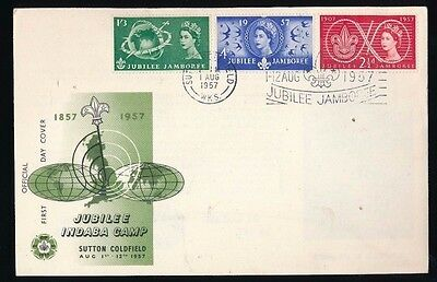 JUBILEE JAMBOREE - Sutton Coldfield...1957 FDC First Day Cover...Fast Post