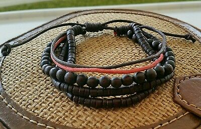 LOT OF 2 X Wooden wood Bead & Rust Hemp multistrand Bracelet Boho Hippie Tribal