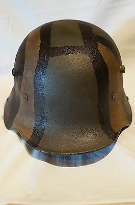 WW1 German M16 Steel Helmet Painted Camouflage with Replacement Liner