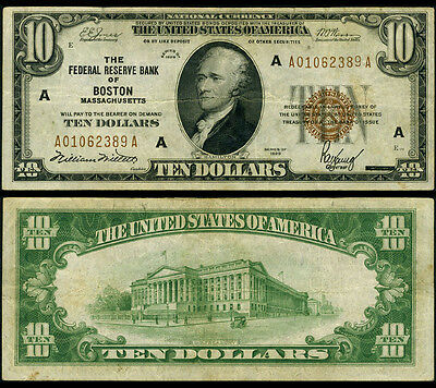 FR. 1860 A $10 1929 Federal Reserve Bank Note Boston VF