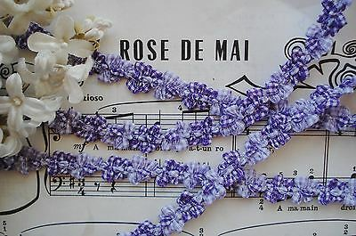 1y VTG FRENCH OMBRE PURPLE GINGHAM ROCOCO ROSETTE FLOWER RIBBON TRIM ANTIQU DOLL