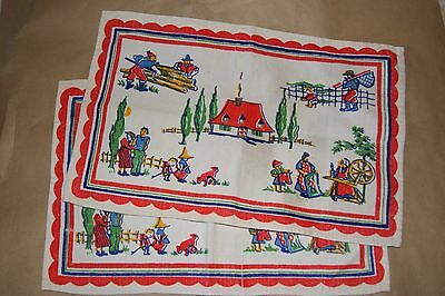 Vtg Block printed Placemat old working days