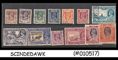 Burma - Selected Old Stamps Of Kgvi - 13V - Used
