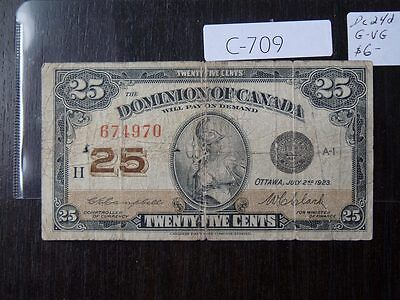Vintage Banknote Canada 1923 Shinplaster 25 Cent    C709