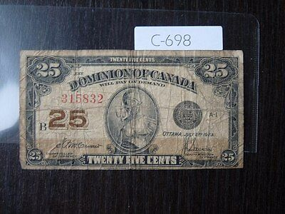 Vintage Banknote Canada 1923 Shinplaster 25 Cent    C698