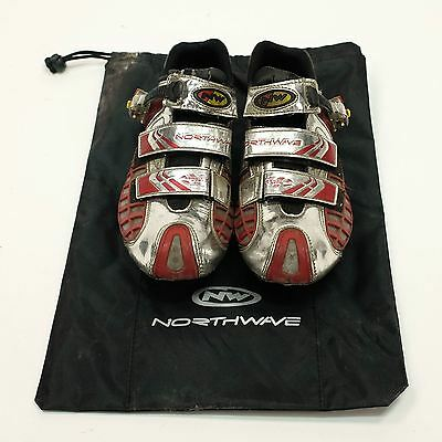 Used Northwave Aerator System Carbon Sole Shoes Size 42, Silver/Red Road Bike