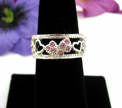 PINK RHINESTONES HEART  RING Vintage Silvertone Wide Band Size 7 Jewelry