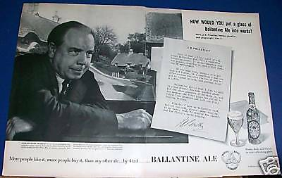 1952 Ballantine Ale Ad J B Priestly author playwright