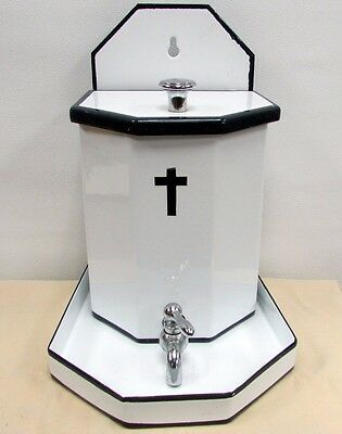 Art Deco Holy Water Font Porcelain Monastery Couvent Hospital White Black Chrome