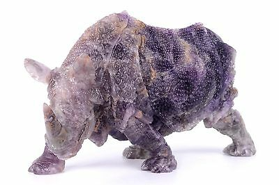 "9.29""Natural Fluorite Carved Rhinoceros Carving Sculpture,Decor #AR79"