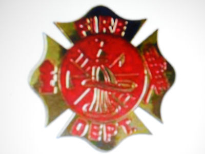 Fireman Firefighter Fire Department Gold Style Metal Red Enamel Belt Buckle New