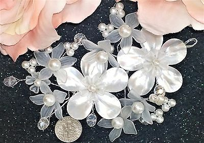 """Bridal Headpiece 5"""" Pearls Crystals Beach Wedding Hair Mother of Pearl GORGEOUS!"""