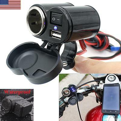 12-24V Waterproof Car Motorcycle Cigarette Lighter Power USB Socket Port Outlet