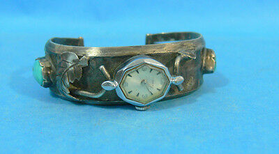 Old Pawn Native American Indian Sterling Silver Turquoise Cuff Watch Bracelet