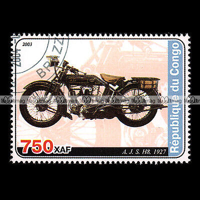 ★ AJS H8  500 OHV 1927 ★ CONGO Timbre Moto / Motorcycle Stamp #414
