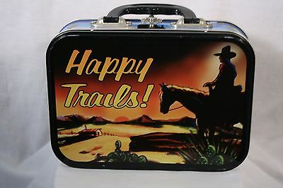 Vtg 1999 Happy Trails Cowboy Western Collectible Tin Lunch Box