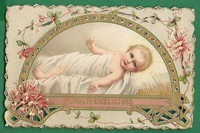 CHILD JESUS Old OPEN WORK DIE CUT EMBOSSED w/ GOLD HOLY CARD