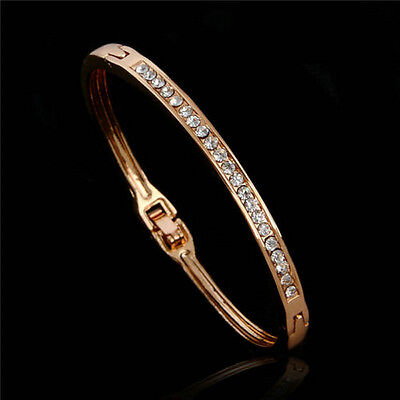 Lady Exquisite Gold-plated Stainless Steel Cuff Bangle Crystal Bracelet Jewelry