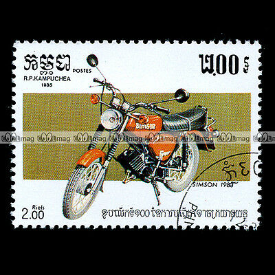★ SIMSON S51 COMFORT SPORTS 80's ★ CAMBODGE Timbre Moto / Motorcycle Stamp #22