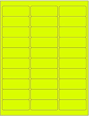 3000 Address Labels Amazon FBA 30 Per Sheet 30UP 2.625''x1'' Fluorescent Yellow