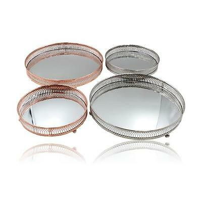 Ornate Mirrored Candle Trinket Jewellery Plant Centre Plate in Silver Copper