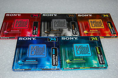 5 x Sony MDW-74E Color  Minidiscs neu, Minidisc blank, sealed