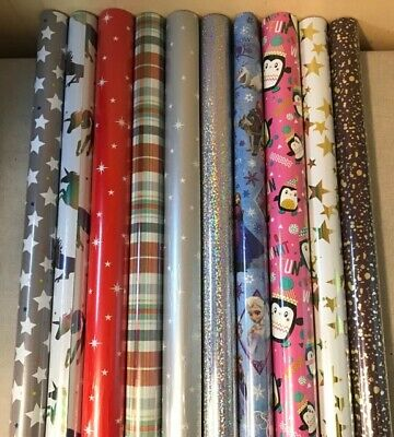 4 - 40 Metres Wrapping Paper Gift Wrap Christmas Birthday Rolls Star Red White G