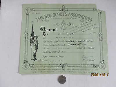 Scouting Interest---Vintage Warrant Dated 1St April 1948---Signed By Lord Rowall