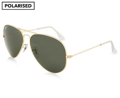 Ray-Ban RB3025 Aviator Polarised Sunglasses - Gold/Green