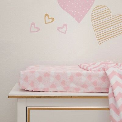 Lambs & Ivy Baby Love Heart Changing Pad Cover - Pink/Gold