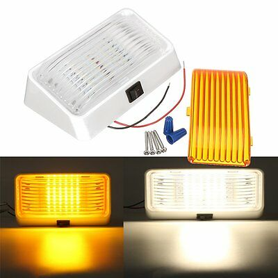 RV LED Camper Trailer Porch Light Rectangle Clear & Amber Lens With Switch White