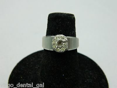 """VTG Silver Tone """"G"""" Initial Initialed Rhinestone Cocktail Ring Size 4.75"""