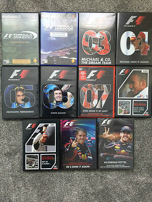 Official F1 Season reviews 2000-2012 DVD's (excluding 2002 & 2010)